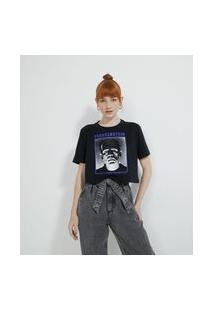 Blusa Cropped Manga Curta Com Estampa Frankstein