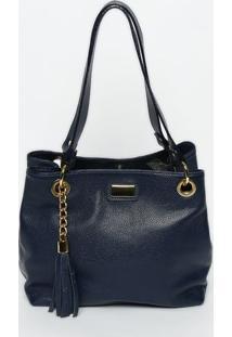 Bolsa Em Couro Com Bag Charm- Azul Marinho & Douradagregory