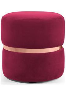 Puff Decorativo Com Cinto Rosê Round B-173 Veludo Vermelho - Domi