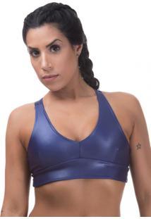 Sutiã Esportivo Cirre Miss Blessed Poliamida Com Proteção Uv 50+ Azul