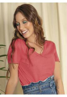 Blusa Básica Com Decote V Rosa