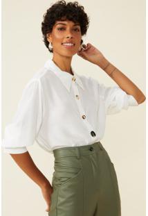 Amaro Feminino Camisa Botões Mix, Off-White