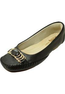 Sapato Prata Couro Conforto - Feminino-Preto