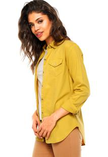 Camisa Calvin Klein Jeans Bolsos Amarela