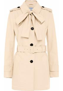 Prada Trench Coat Com Laço - Neutro