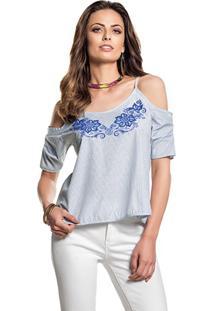 Blusa Alças Ombro Vazado Lista Azul Estampa Relevo