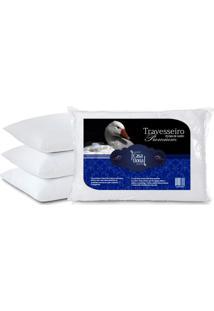 Kit 4 Travesseiros Pluma De Ganso Premium 50X70Cm Casa Dona 200 Fios Branco