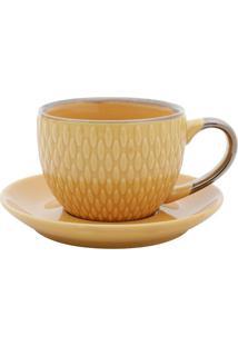 Conjunto De Xícaras Para Café Com Pires 4 Peças 90 Ml 27611-Bon Gourmet - Amarelo