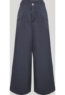 Calça De Sarja Feminina Mindset Pantalona Cintura Super Alta Com Pregas Chumbo