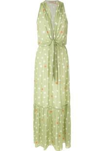 Adriana Degreas Vestido Longo Poá Estampado - Verde