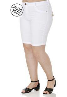 Bermuda Sarja Plus Size Feminina - Feminino-Branco