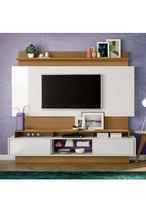 Estante Home Theater Para Tv Até 55 Polegadas 2 Portas De Correr 100% Mdf Tb113 Sem Led Off White/Freijó - Dalla Costa