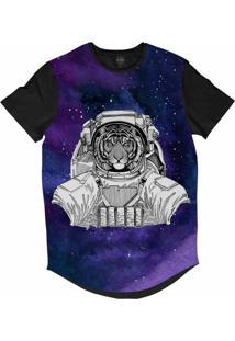 Camiseta Longline Insane 10 Animal Astronauta Tigre No Espaço Sublimada Cinza