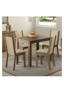 Conjunto Sala De Jantar Madesa Cíntia Mesa Tampo De Madeira Com 4 Cadeiras Rustic/Crema/Pérola