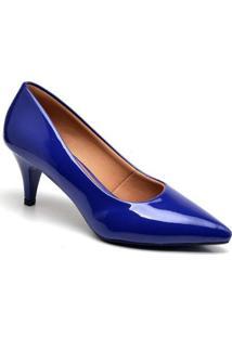 Scarpin Casual Ellas Online Salto Baixo Feminino - Feminino-Azul Escuro