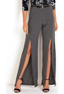 Calça Pantalona Cinza Com Fendas Frontais