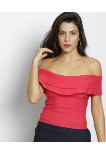 Blusa Ciganinha Com Babados Lisa - Rosa - Moisellemoisele