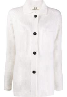Sminfinity Ribbed-Knit Button-Up Cardigan - Branco