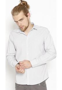 Camisa Listrada Com Bordado - Branca & Cinza - Colcccolcci