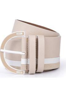 Cinto Cintura Medio Fivela Personalizada Areia/Off White