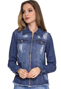 Jaqueta Jeans Rosa K Destroyed Azul