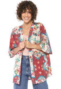 Kimono Mercatto Floral Bege/Vermelho