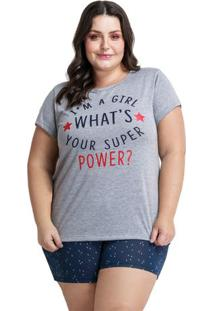 Pijama Short Doll Plus Size Girl Power Feminino Luna Cuore