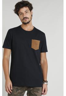 Camiseta Masculina Com Bolso Em Suede Manga Curta Gola Careca Preta