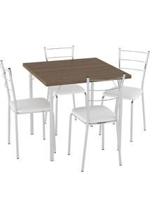 Conjunto Mesa Tampo Carvalho C/ 4 Cadeiras Vinil Branco/Cromado Pozza