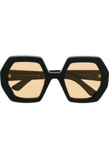 Gucci Eyewear Óculos De Sol Octógono Oversized - Preto