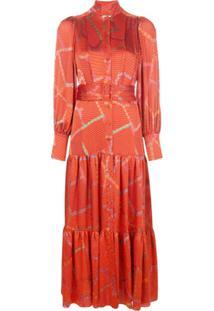 Alexis Vestido Midi Soraya Com Estampa Geométrica - Vermelho