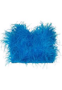 The Attico Blusa Cropped Tomara Que Caia - Azul