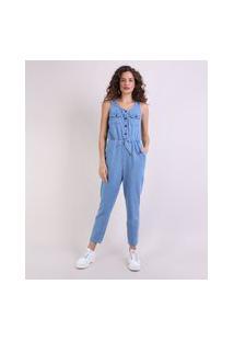 Macacão Jeans Feminino Com Bolsos Sem Manga Azul Claro