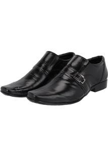 Sapato Social Masculino Em Couro Costura Transversal Leoppé Preto