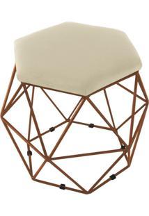 Puff Aramado Bronze Assento Hexagonal Suede Bege - Ds Móveis - Kanui