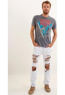 Calça John John Slim Maldivas Jeans Branco Masculina (Jeans Claro, 46)