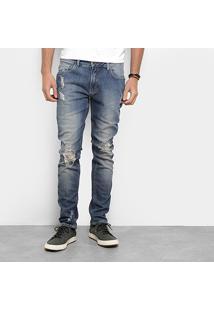 Calça Jeans Skinny Zoomp New Rock Gabriel Destroyed Masculina - Masculino-Jeans