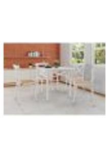 Conjunto De Mesa De Jantar Com 4 Cadeiras E Tampo De Madeira Katrina Branco
