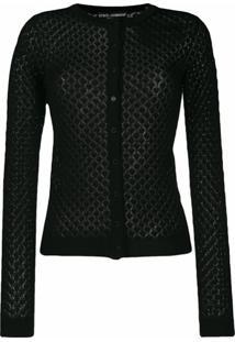 Dolce & Gabbana Cardigan De Tricô E Crochê - Preto