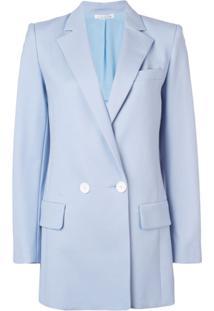 Oscar De La Renta Blazer Com Abotoamento Duplo - Azul