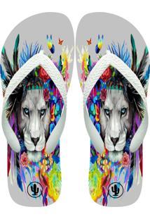 Chinelo Live Leão Color Branco