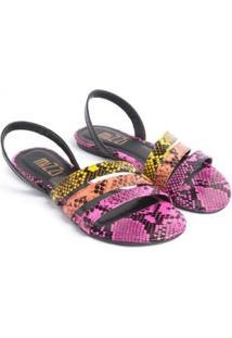 Sandália Rasteira Mizzi Shoes Piton Feminina - Feminino-Roxo+Amarelo