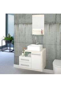 Gabinete Para Banheiro 1 Porta 2 Gavetas 1 Cuba Q35 E Espelheira Legno 651W Siena Móveis Branco C/Snow