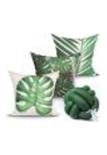 Jogo Capa Almofada Para Quarto Verde Costela De Adão Kit 3 Capas 45Cm X 45Cm + Almofada Nó Escandinavo