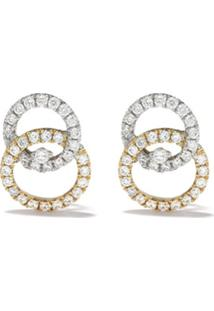 Kiki Mcdonough Par De Brincos De Ouro Branco 18K Com Diamantes - Yellow And White Gold