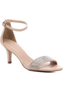 Sandália Couro Shoestock Strass Salto Médio Feminina - Feminino-Rosa Claro