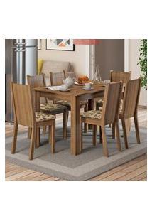 Conjunto Sala De Jantar Madesa Maris Mesa Tampo De Madeira Com 6 Cadeiras Marrom