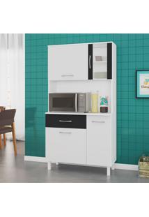 Cozinha Compacta Viena 4 Pt 1 Gv Branco E Preto 91Cm