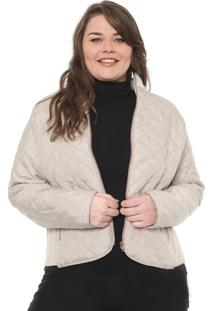 Jaqueta Secret Glam Plus Size Matelassê Bege