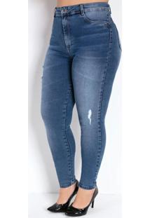 Calça Jeans Cigarrete Com Puído Sawary Plus Size